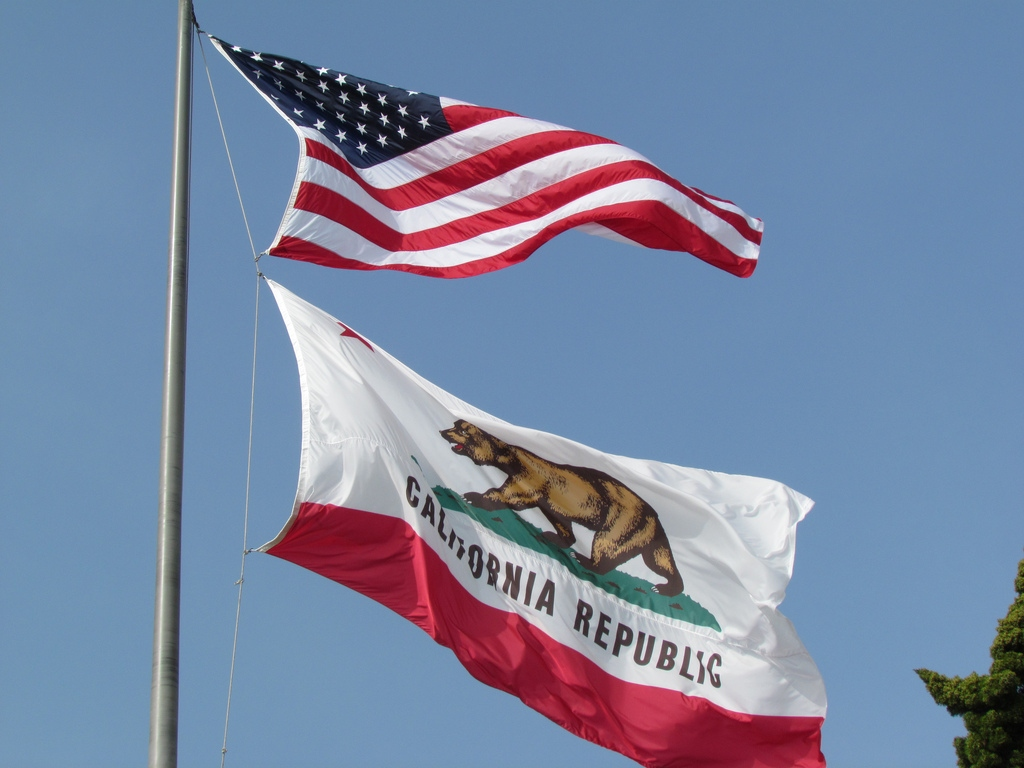 California and Federal Flags